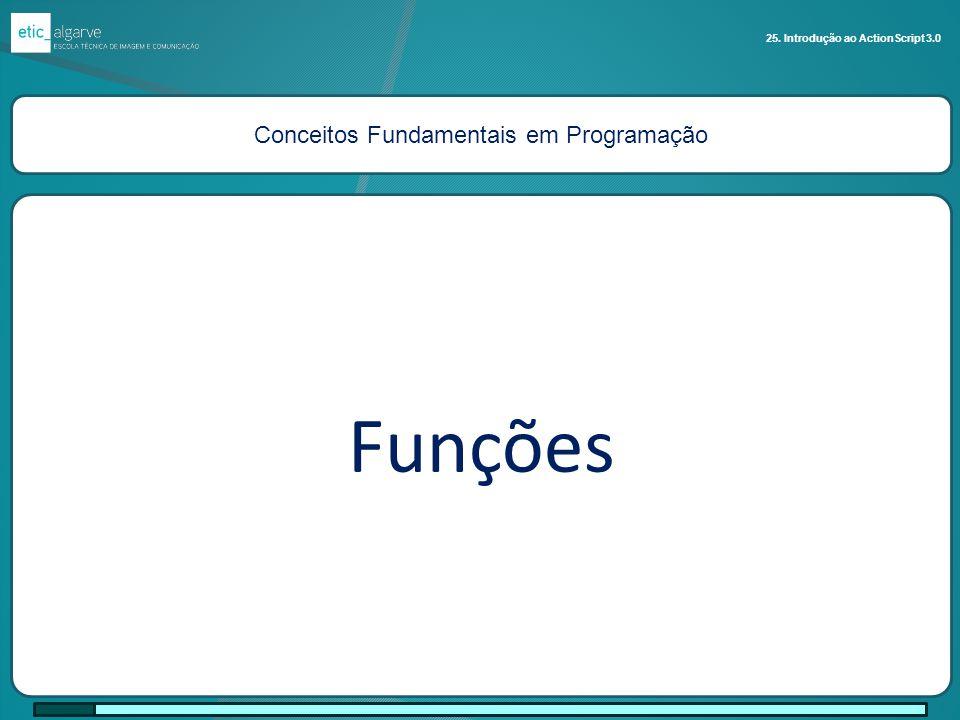 Conceitos Fundamentais em Programação Funções 25. Introdução ao ActionScript 3.0
