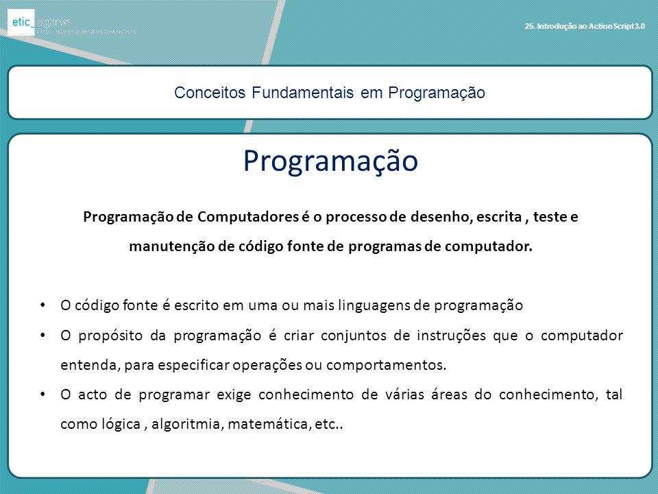 Conceitos Fundamentais em Programação 25. Introdução ao ActionScript 3.0 Programação Programação de Computadores é o processo de desenho, escrita, tes