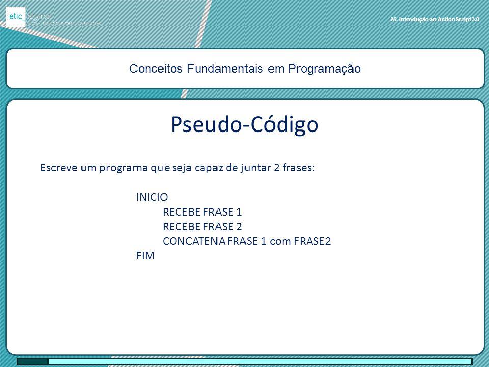 Conceitos Fundamentais em Programação 25. Introdução ao ActionScript 3.0 Escreve um programa que seja capaz de juntar 2 frases: INICIO RECEBE FRASE 1