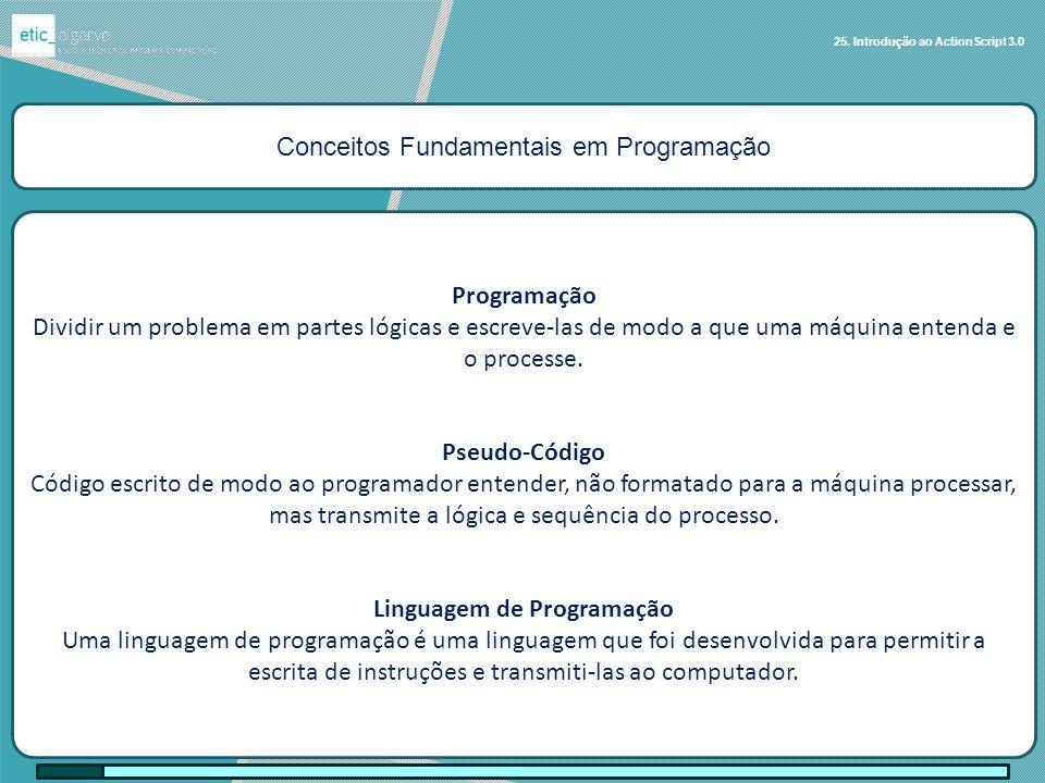 Conceitos Fundamentais em Programação Ciclos 25. Introdução ao ActionScript 3.0