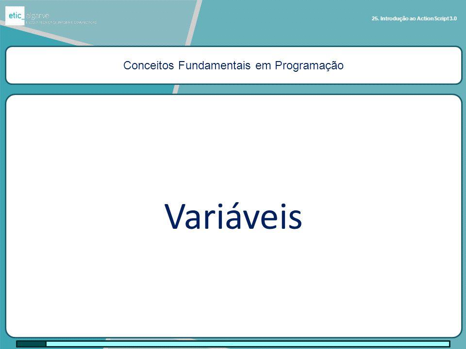 Conceitos Fundamentais em Programação Variáveis 25. Introdução ao ActionScript 3.0