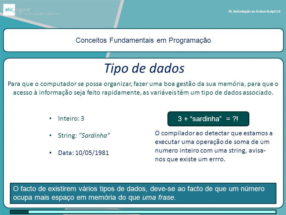 Conceitos Fundamentais em Programação 25. Introdução ao ActionScript 3.0 Tipo de dados Para que o computador se possa organizar, fazer uma boa gestão