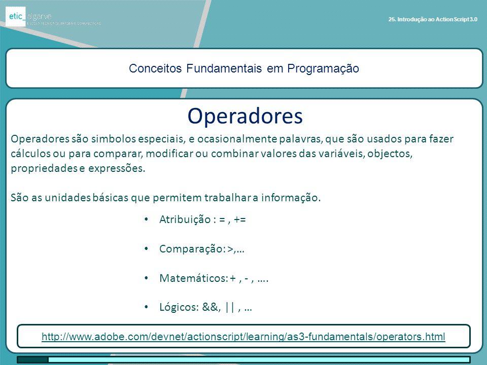 Conceitos Fundamentais em Programação 25. Introdução ao ActionScript 3.0 Operadores http://www.adobe.com/devnet/actionscript/learning/as3-fundamentals