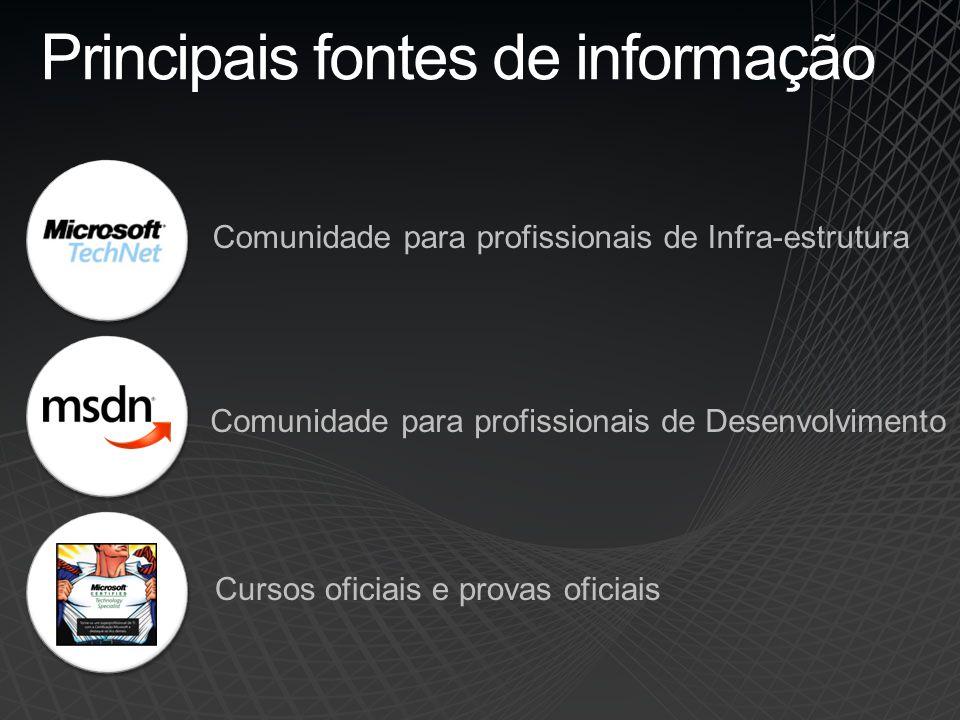 Principais fontes de informação Comunidade para profissionais de Infra-estrutura Comunidade para profissionais de Desenvolvimento Cursos oficiais e provas oficiais