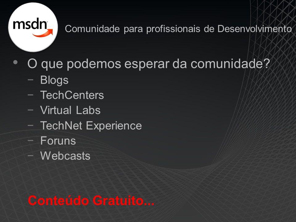 O que podemos esperar da comunidade? −Blogs −TechCenters −Virtual Labs −TechNet Experience −Foruns −Webcasts Conteúdo Gratuito... Comunidade para prof