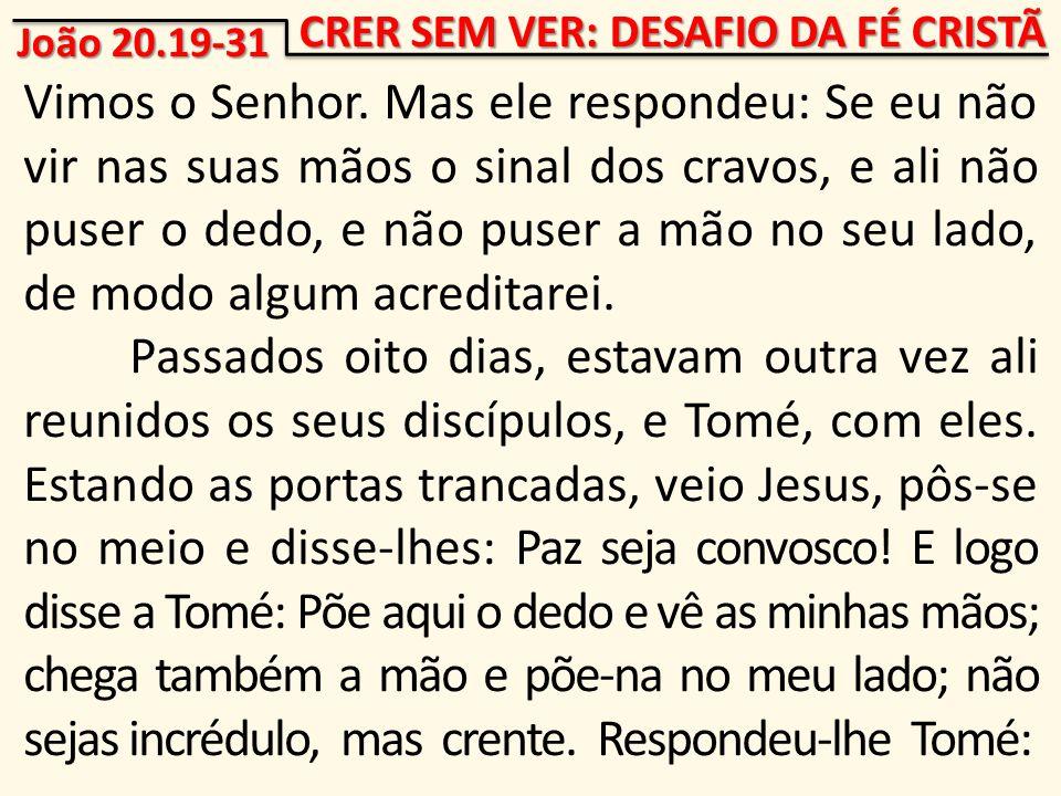 CRER SEM VER: DESAFIO DA FÉ CRISTÃ Vimos o Senhor.