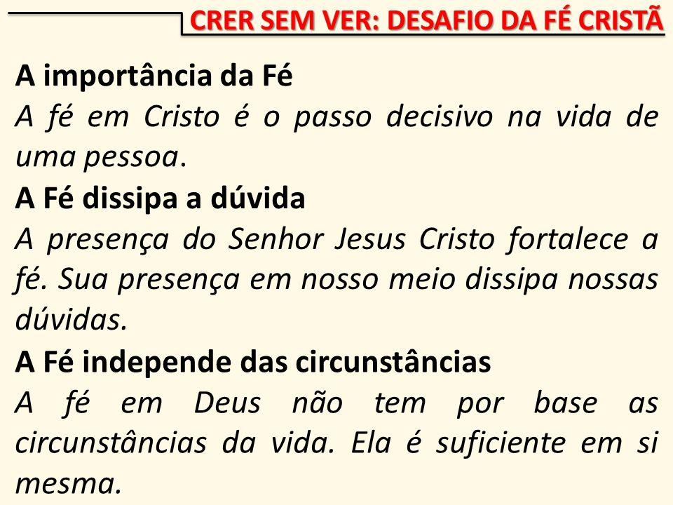 CRER SEM VER: DESAFIO DA FÉ CRISTÃ A importância da Fé A fé em Cristo é o passo decisivo na vida de uma pessoa.
