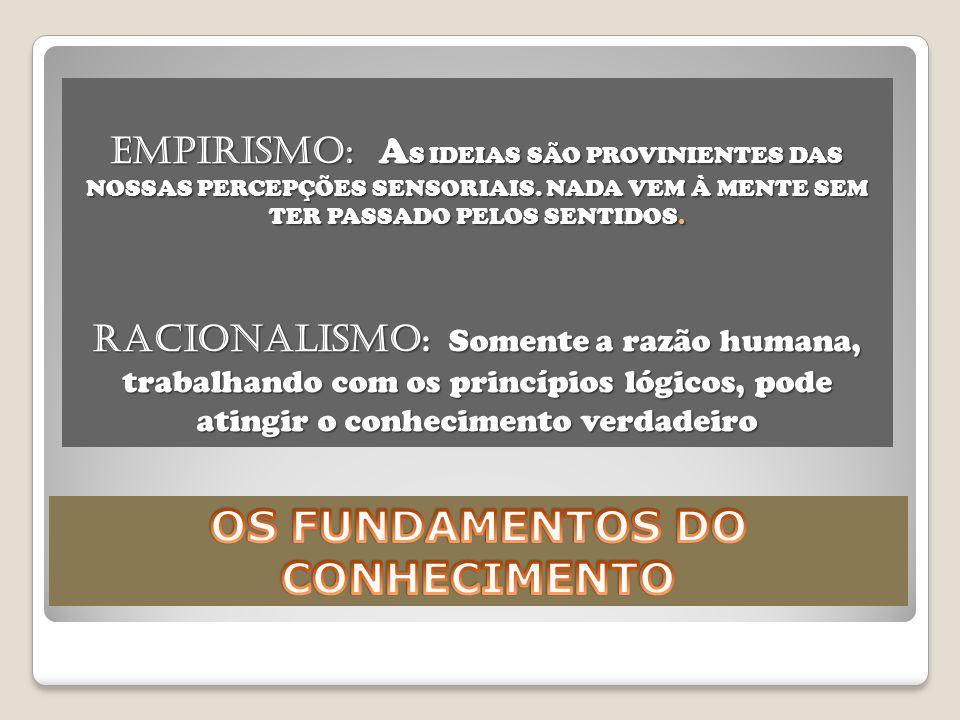 EMPIRISMO: A S IDEIAS SÃO PROVINIENTES DAS NOSSAS PERCEPÇÕES SENSORIAIS.