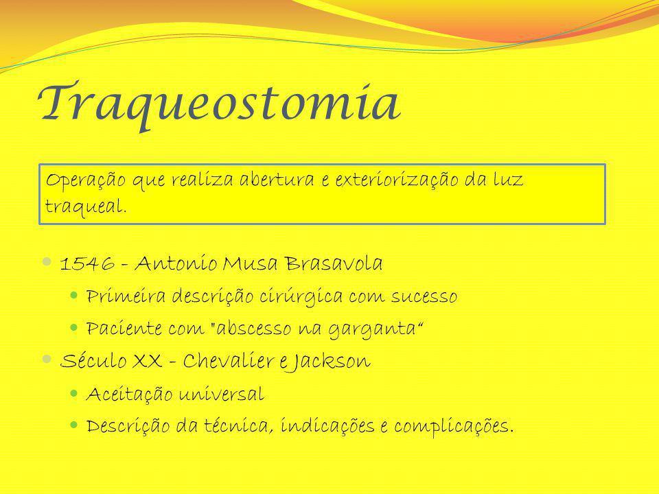 Traqueostomia 1546 - Antonio Musa Brasavola Primeira descrição cirúrgica com sucesso Paciente com