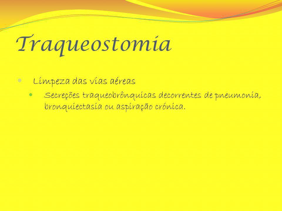 Traqueostomia Limpeza das vias aéreas Secreções traqueobrônquicas decorrentes de pneumonia, bronquiectasia ou aspiração crónica.