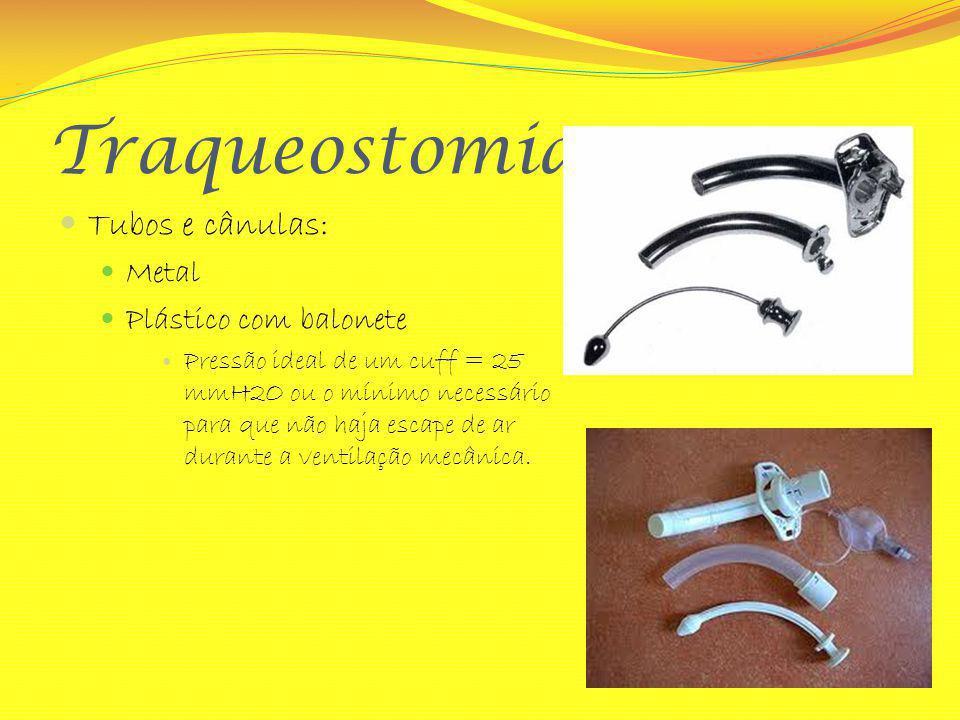 Traqueostomia Tubos e cânulas: Metal Plástico com balonete Pressão ideal de um cuff = 25 mmH2O ou o mínimo necessário para que não haja escape de ar d