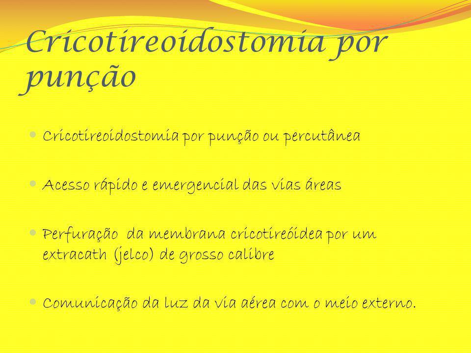 Cricotireoidostomia por punção Cricotireoidostomia por punção ou percutânea Acesso rápido e emergencial das vias áreas Perfuração da membrana cricotir