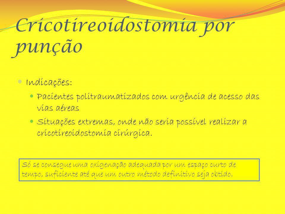 Cricotireoidostomia por punção Indicações: Pacientes politraumatizados com urgência de acesso das vias aéreas Situações extremas, onde não seria possí