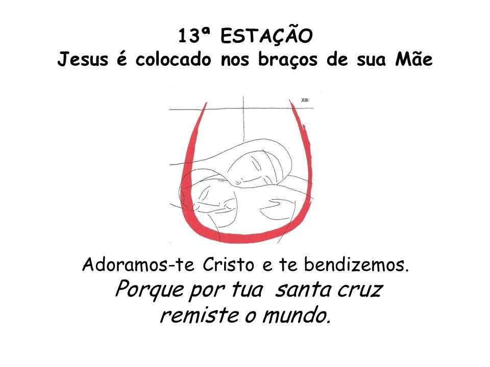 13ª ESTAÇÃO Jesus é colocado nos braços de sua Mãe Adoramos-te Cristo e te bendizemos. Porque por tua santa cruz remiste o mundo.