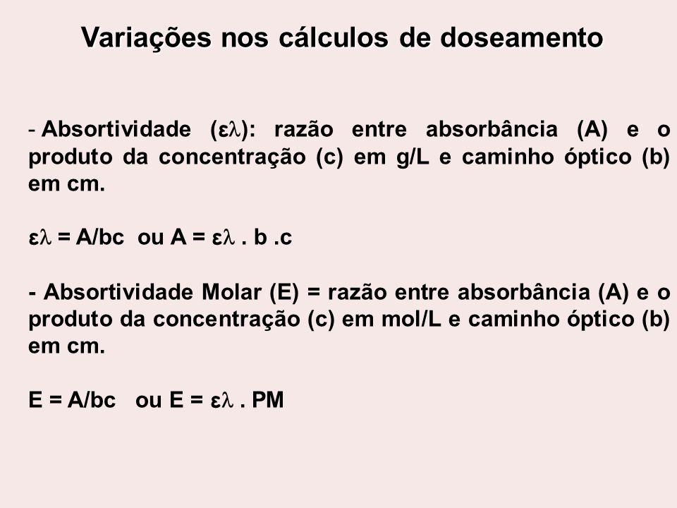 Variações nos cálculos de doseamento - Absortividade ( ε ): razão entre absorbância (A) e o produto da concentração (c) em g/L e caminho óptico (b) em