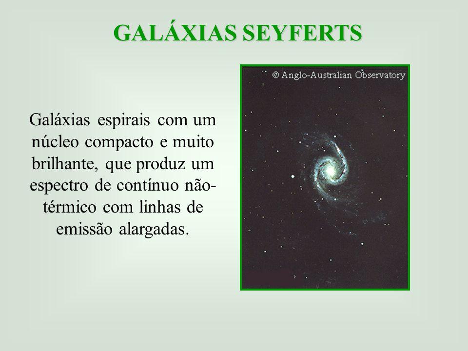 GALÁXIAS SEYFERTS Galáxias espirais com um núcleo compacto e muito brilhante, que produz um espectro de contínuo não- térmico com linhas de emissão alargadas.