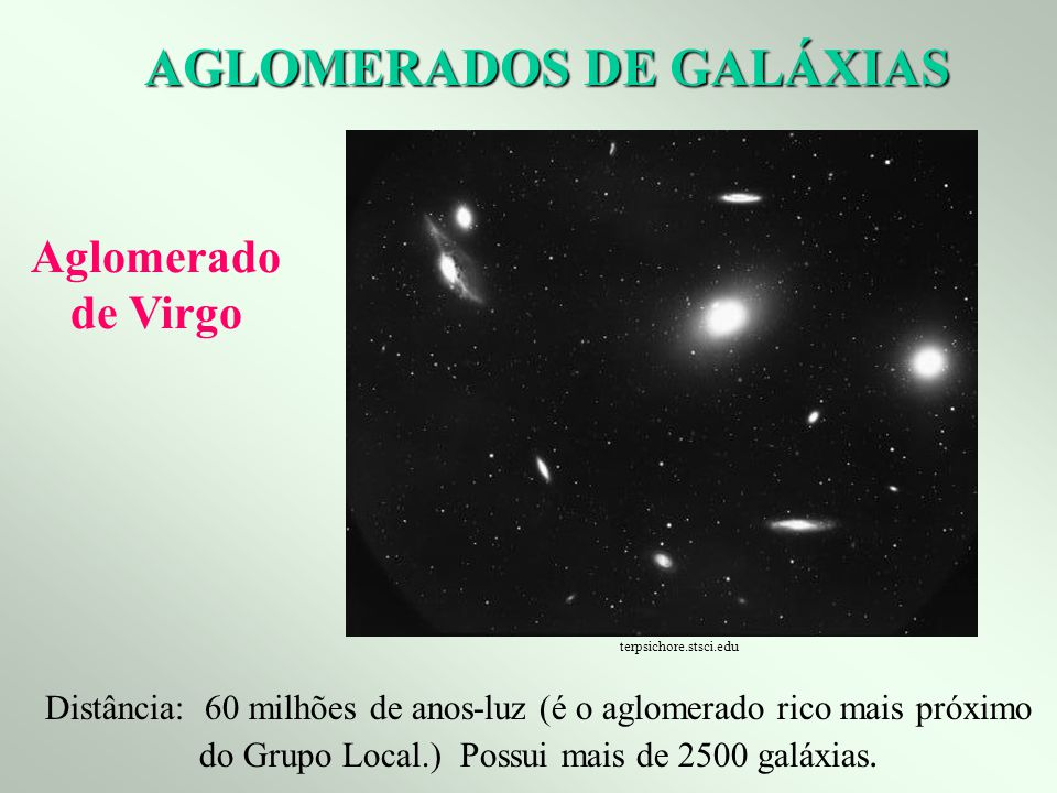 AGLOMERADOS DE GALÁXIAS Distância: 60 milhões de anos-luz (é o aglomerado rico mais próximo do Grupo Local.) Possui mais de 2500 galáxias. Aglomerado