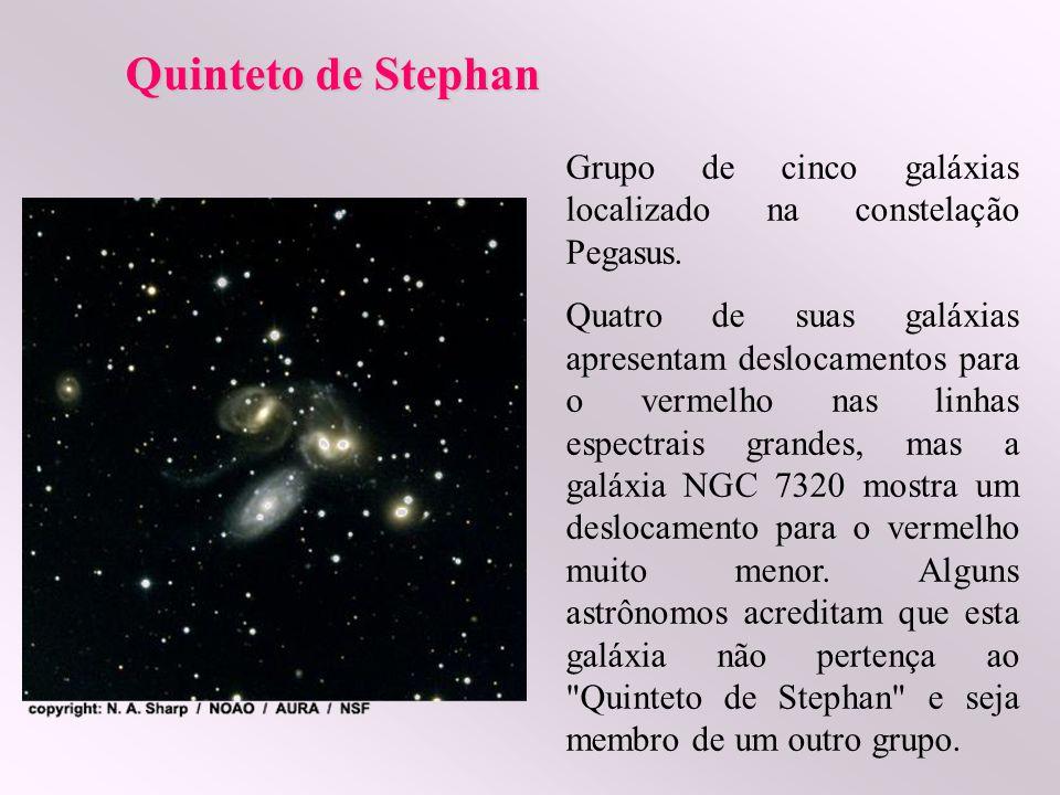Quinteto de Stephan Grupo de cinco galáxias localizado na constelação Pegasus. Quatro de suas galáxias apresentam deslocamentos para o vermelho nas li