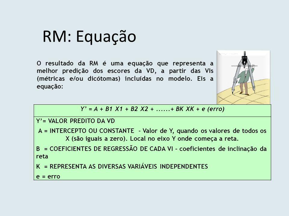 RM: Equação Y' = A + B1 X1 + B2 X2 +......+ BK XK + e (erro) Y'= VALOR PREDITO DA VD A = INTERCEPTO OU CONSTANTE - Valor de Y, quando os valores de to