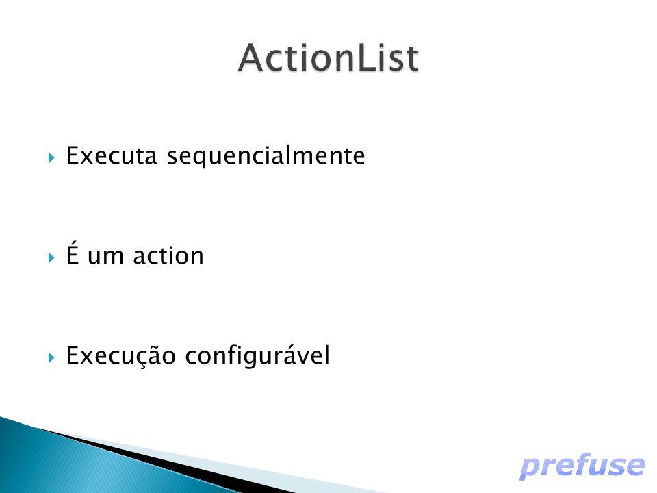  Executa sequencialmente  É um action  Execução configurável