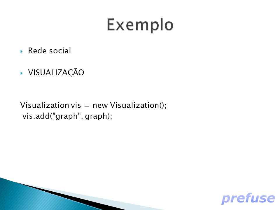  Rede social  VISUALIZAÇÃO Visualization vis = new Visualization(); vis.add( graph , graph);