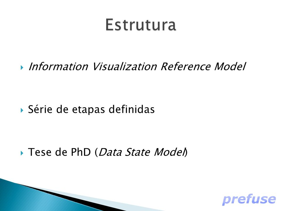  Information Visualization Reference Model  Série de etapas definidas  Tese de PhD (Data State Model)