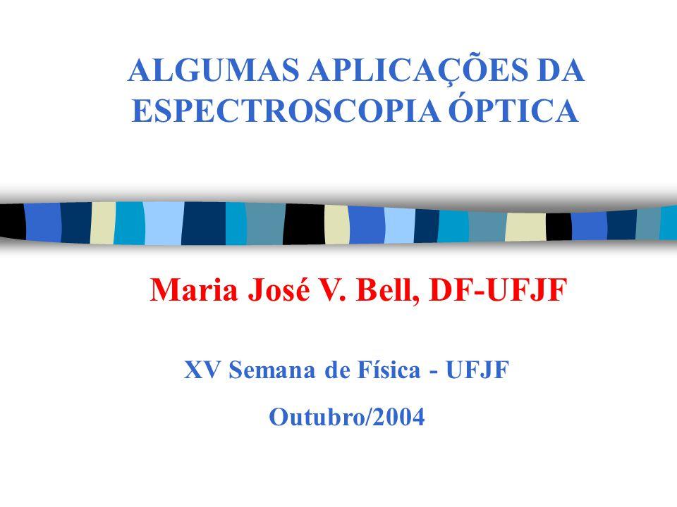 ALGUMAS APLICAÇÕES DA ESPECTROSCOPIA ÓPTICA XV Semana de Física - UFJF Outubro/2004 Maria José V. Bell, DF-UFJF