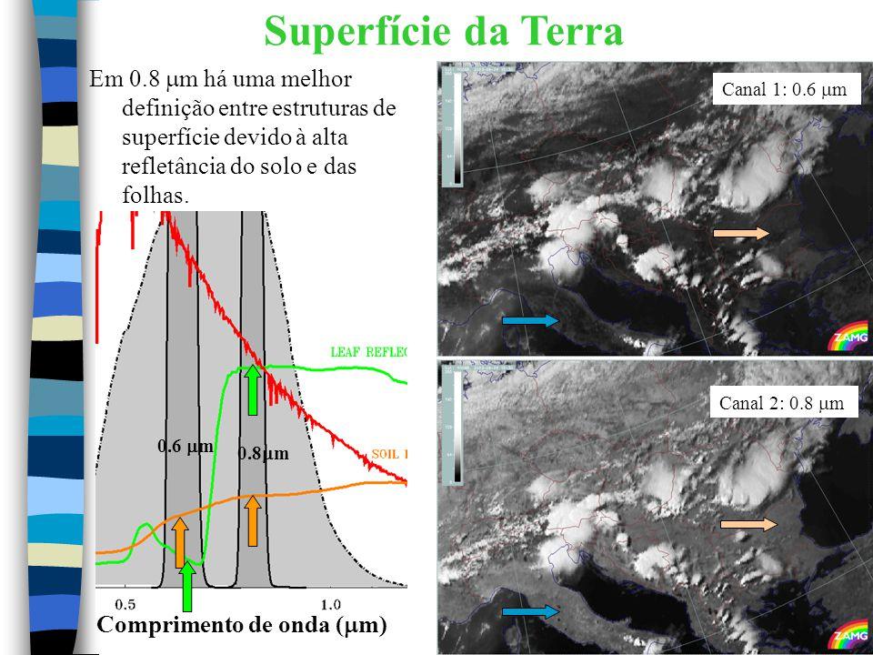 Superfície da Terra Em 0.8  m há uma melhor definição entre estruturas de superfície devido à alta refletância do solo e das folhas. 0.6  m 0.8  m