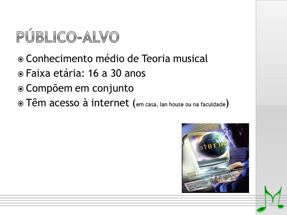  Conhecimento médio de Teoria musical  Faixa etária: 16 a 30 anos  Compõem em conjunto  Têm acesso à internet ( em casa, lan house ou na faculdade