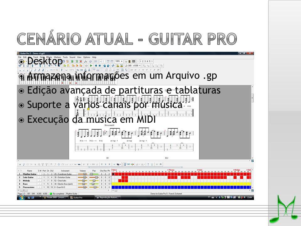  Desktop  Armazena informações em um Arquivo.gp  Edição avançada de partituras e tablaturas  Suporte a vários canais por música  Execução da músi