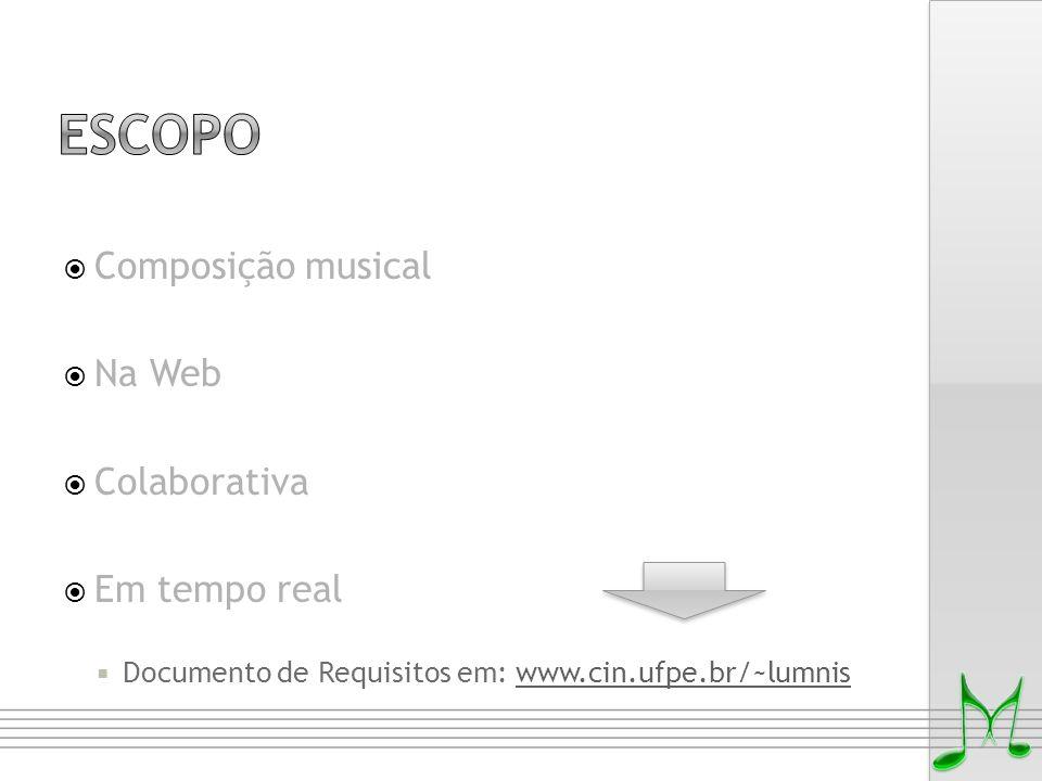  Composição musical  Na Web  Colaborativa  Em tempo real  Documento de Requisitos em: www.cin.ufpe.br/~lumniswww.cin.ufpe.br/~lumnis