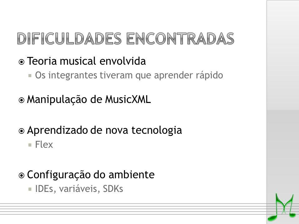  Teoria musical envolvida  Os integrantes tiveram que aprender rápido  Manipulação de MusicXML  Aprendizado de nova tecnologia  Flex  Configuraç