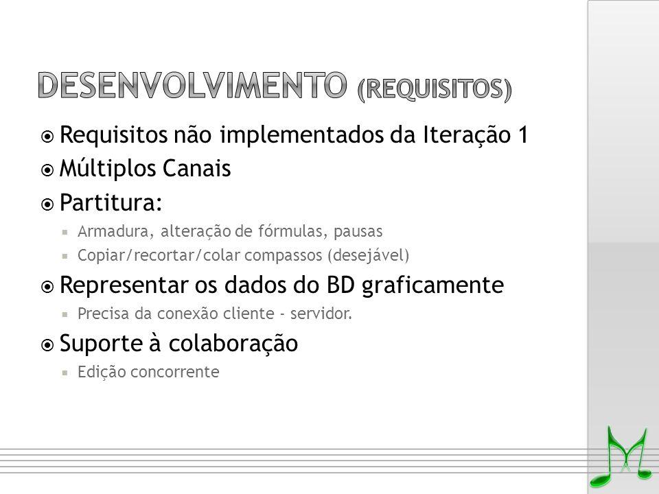  Requisitos não implementados da Iteração 1  Múltiplos Canais  Partitura:  Armadura, alteração de fórmulas, pausas  Copiar/recortar/colar compass