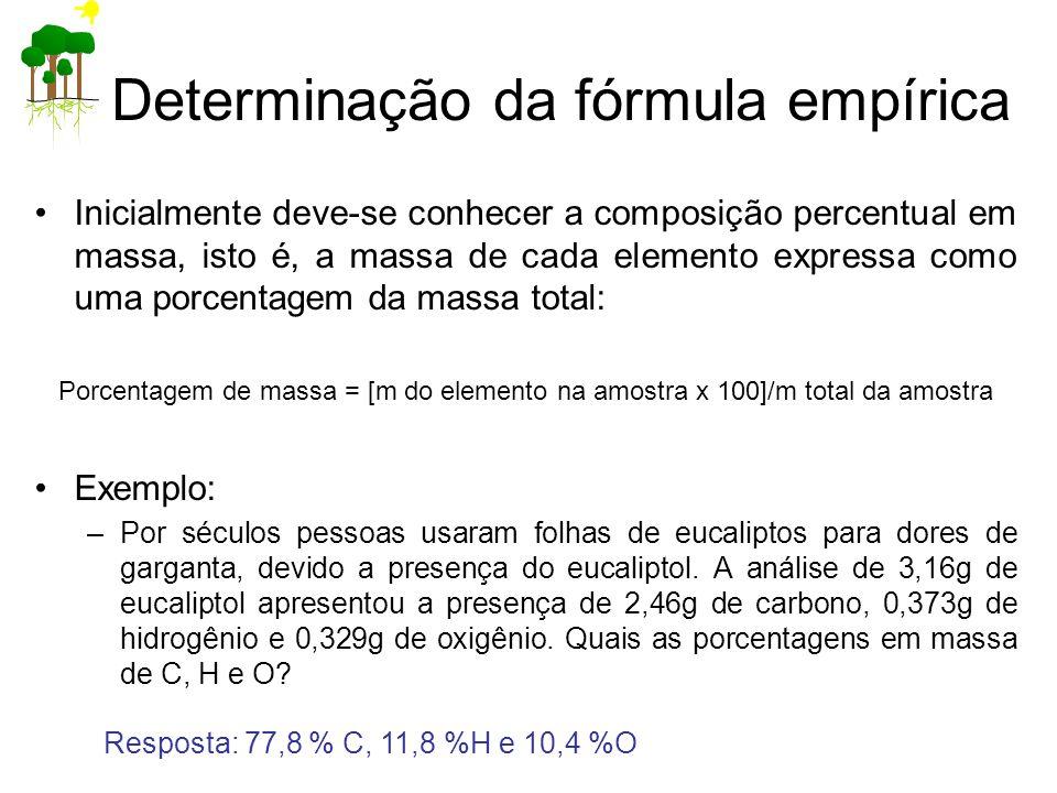 Determinação da fórmula empírica Inicialmente deve-se conhecer a composição percentual em massa, isto é, a massa de cada elemento expressa como uma po
