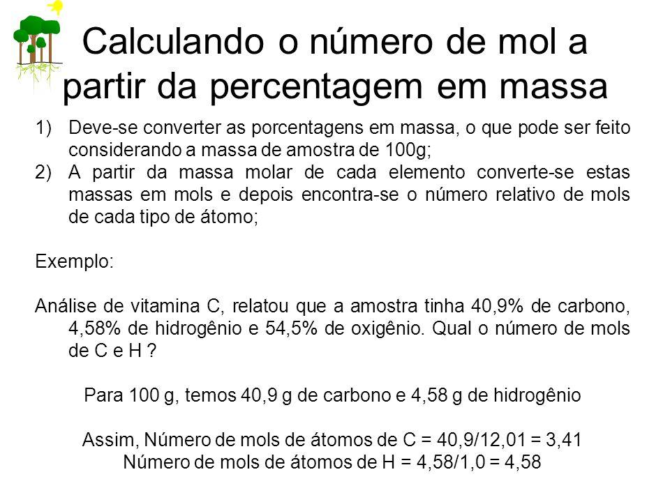 1)Deve-se converter as porcentagens em massa, o que pode ser feito considerando a massa de amostra de 100g; 2)A partir da massa molar de cada elemento converte-se estas massas em mols e depois encontra-se o número relativo de mols de cada tipo de átomo; Exemplo: Análise de vitamina C, relatou que a amostra tinha 40,9% de carbono, 4,58% de hidrogênio e 54,5% de oxigênio.