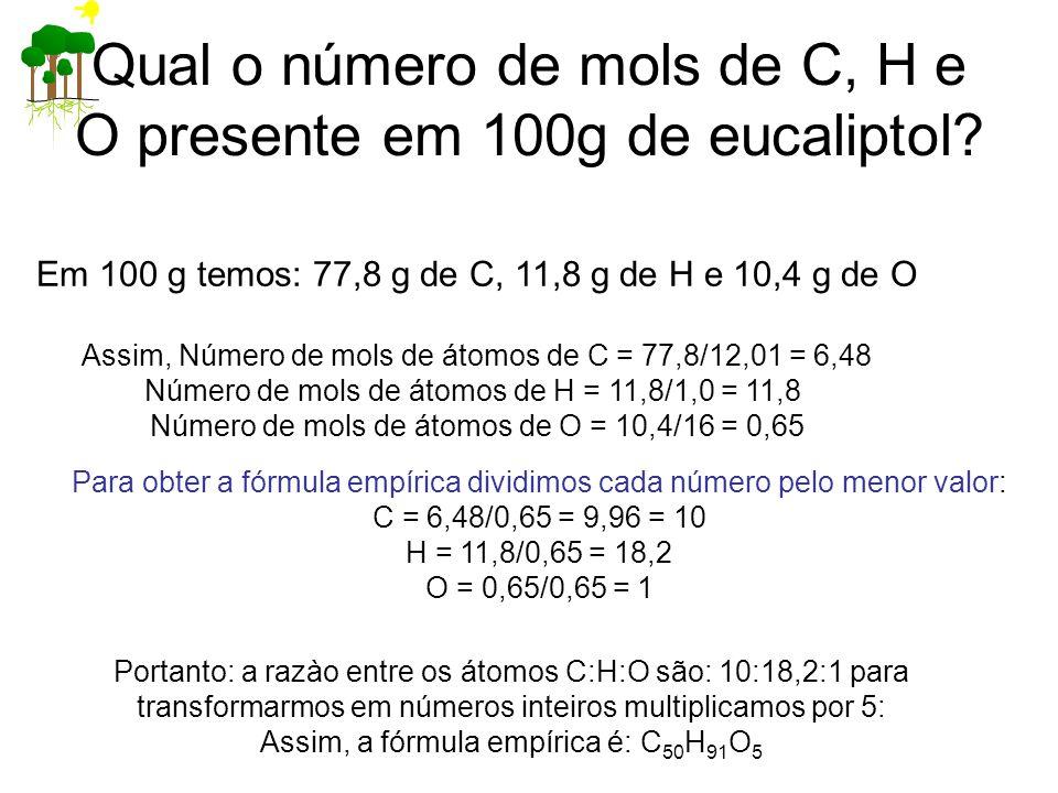 Em 100 g temos: 77,8 g de C, 11,8 g de H e 10,4 g de O Assim, Número de mols de átomos de C = 77,8/12,01 = 6,48 Número de mols de átomos de H = 11,8/1,0 = 11,8 Número de mols de átomos de O = 10,4/16 = 0,65 Para obter a fórmula empírica dividimos cada número pelo menor valor: C = 6,48/0,65 = 9,96 = 10 H = 11,8/0,65 = 18,2 O = 0,65/0,65 = 1 Portanto: a razào entre os átomos C:H:O são: 10:18,2:1 para transformarmos em números inteiros multiplicamos por 5: Assim, a fórmula empírica é: C 50 H 91 O 5 Qual o número de mols de C, H e O presente em 100g de eucaliptol?