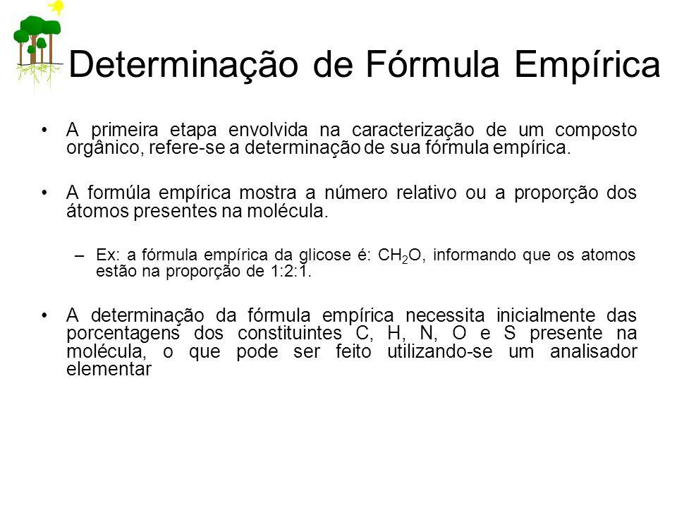 Determinação de Fórmula Empírica A primeira etapa envolvida na caracterização de um composto orgânico, refere-se a determinação de sua fórmula empíric