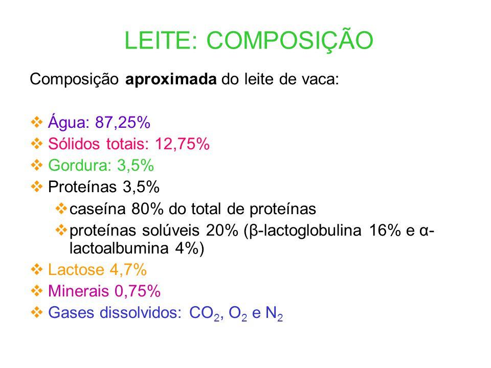 LEITE: COMPOSIÇÃO Composição aproximada do leite de vaca:  Água: 87,25%  Sólidos totais: 12,75%  Gordura: 3,5%  Proteínas 3,5%  caseína 80% do to
