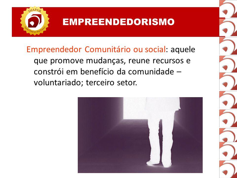 EMPREENDEDORISMO Empreendedor interno: O indivíduo que promove as mudanças dentro da empresa em que trabalha; reinventa a empresa e os negócios, etc;