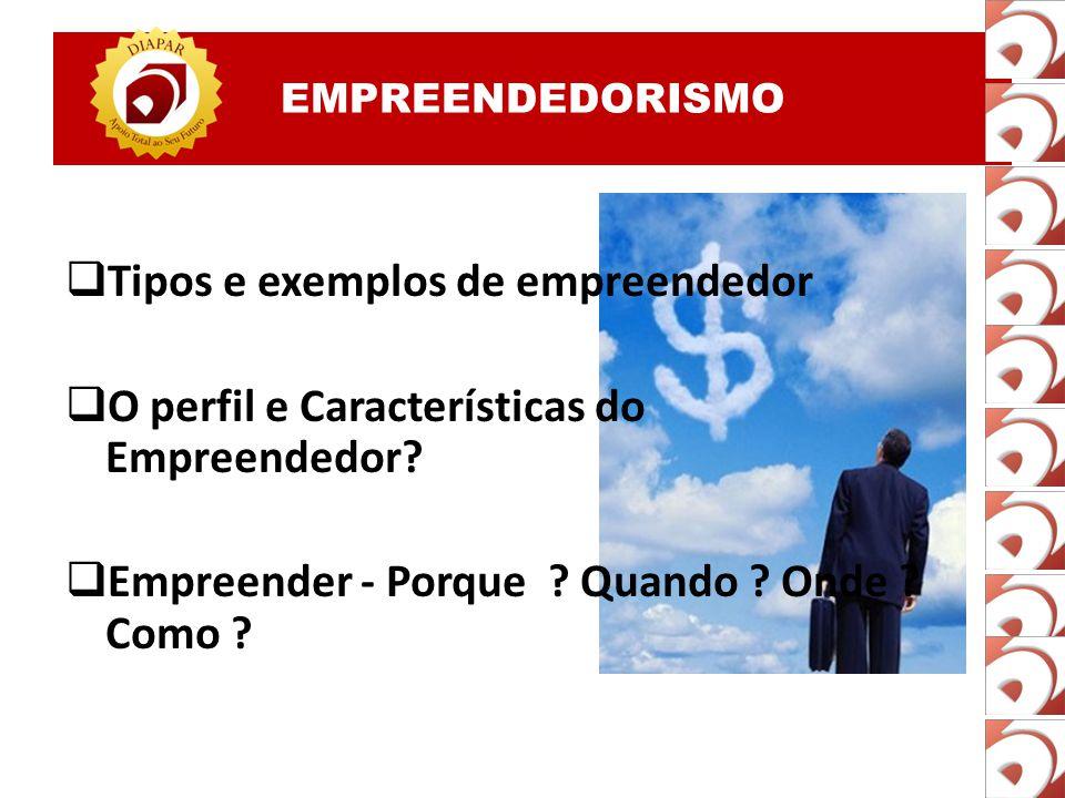EMPREENDEDORISMO  Tipos e exemplos de empreendedor  O perfil e Características do Empreendedor.