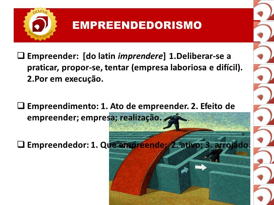 EMPREENDEDORISMO  Empreender: [do latin imprendere] 1.Deliberar-se a praticar, propor-se, tentar (empresa laboriosa e difícil).
