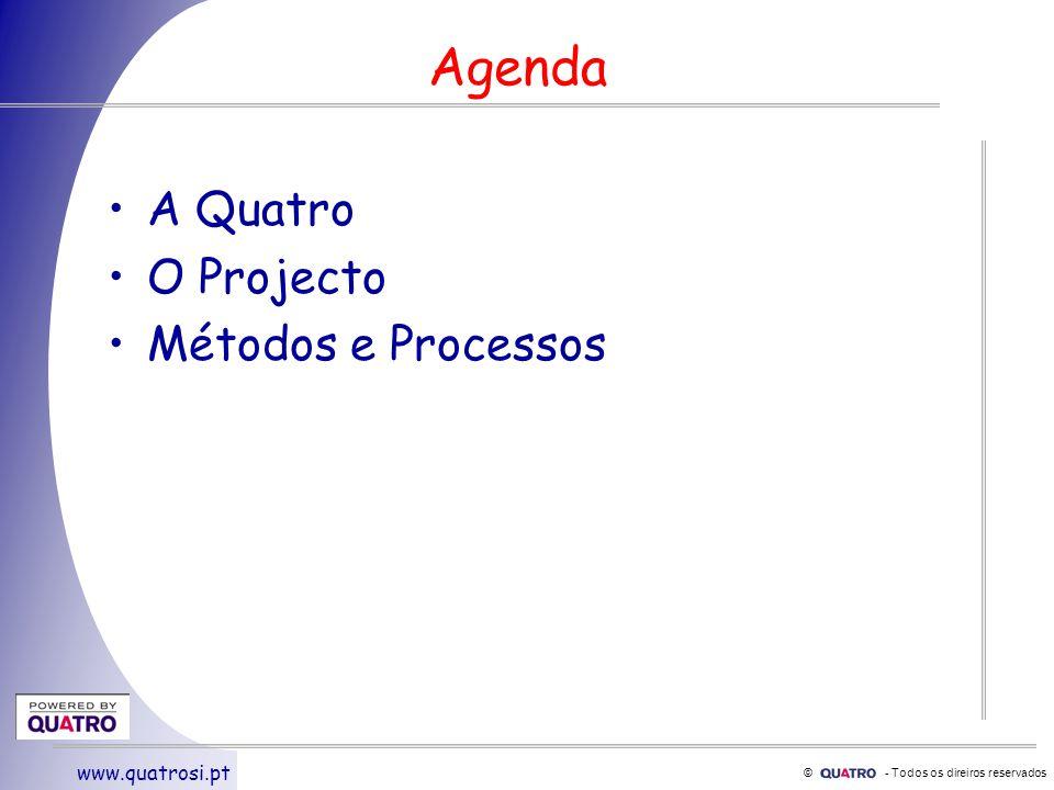 © - Todos os direiros reservados www.quatrosi.pt Agenda A Quatro O Projecto Métodos e Processos