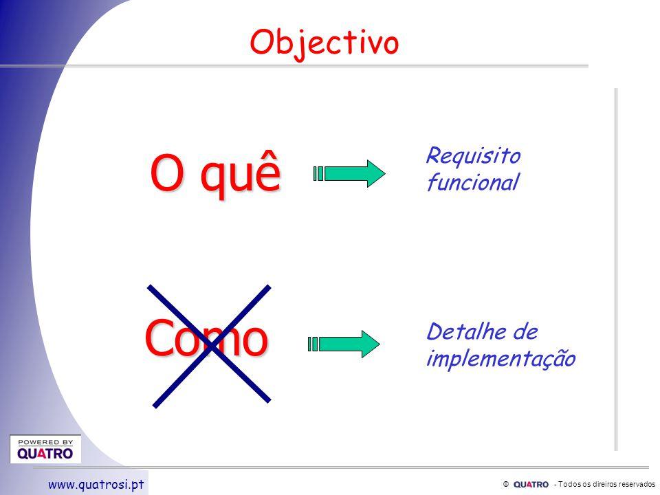 © - Todos os direiros reservados www.quatrosi.pt Objectivo O quê Como Requisito funcional Detalhe de implementação