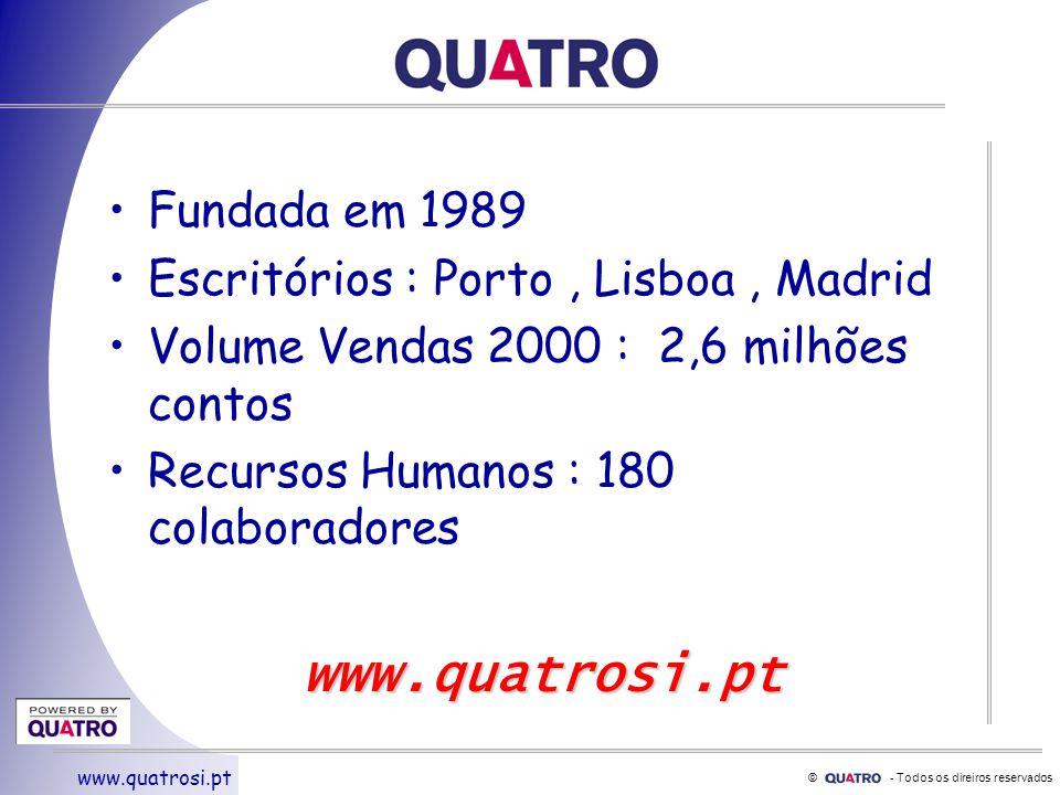 © - Todos os direiros reservados www.quatrosi.pt Fundada em 1989 Escritórios : Porto, Lisboa, Madrid Volume Vendas 2000 : 2,6 milhões contos Recursos Humanos : 180 colaboradores www.quatrosi.pt