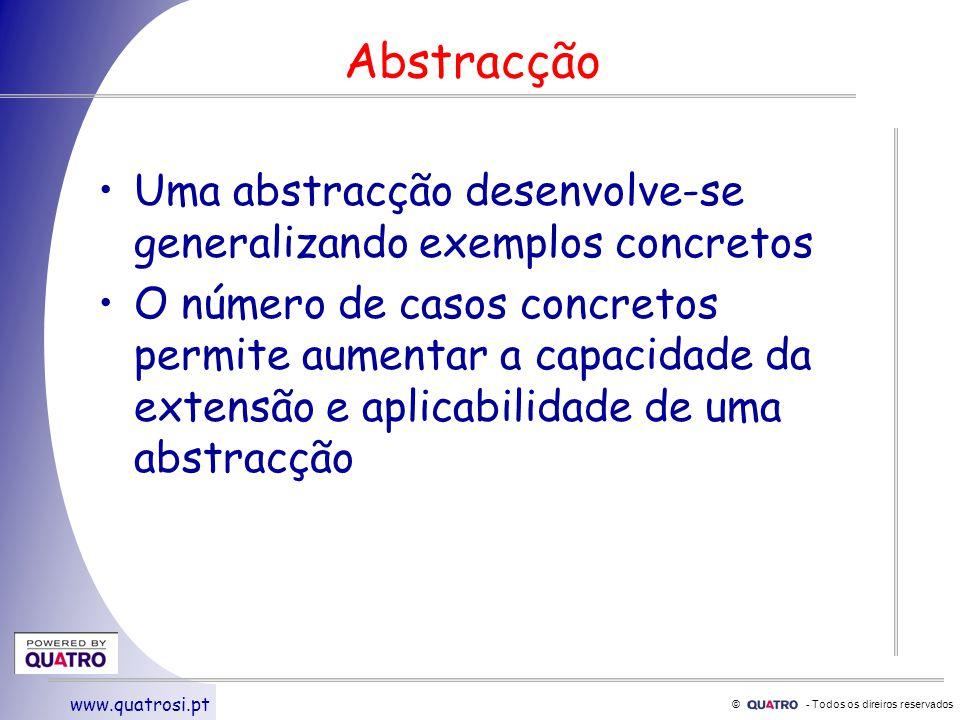 © - Todos os direiros reservados www.quatrosi.pt Abstracção Uma abstracção desenvolve-se generalizando exemplos concretos O número de casos concretos permite aumentar a capacidade da extensão e aplicabilidade de uma abstracção