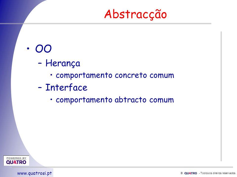 © - Todos os direiros reservados www.quatrosi.pt Abstracção OO –Herança comportamento concreto comum –Interface comportamento abtracto comum