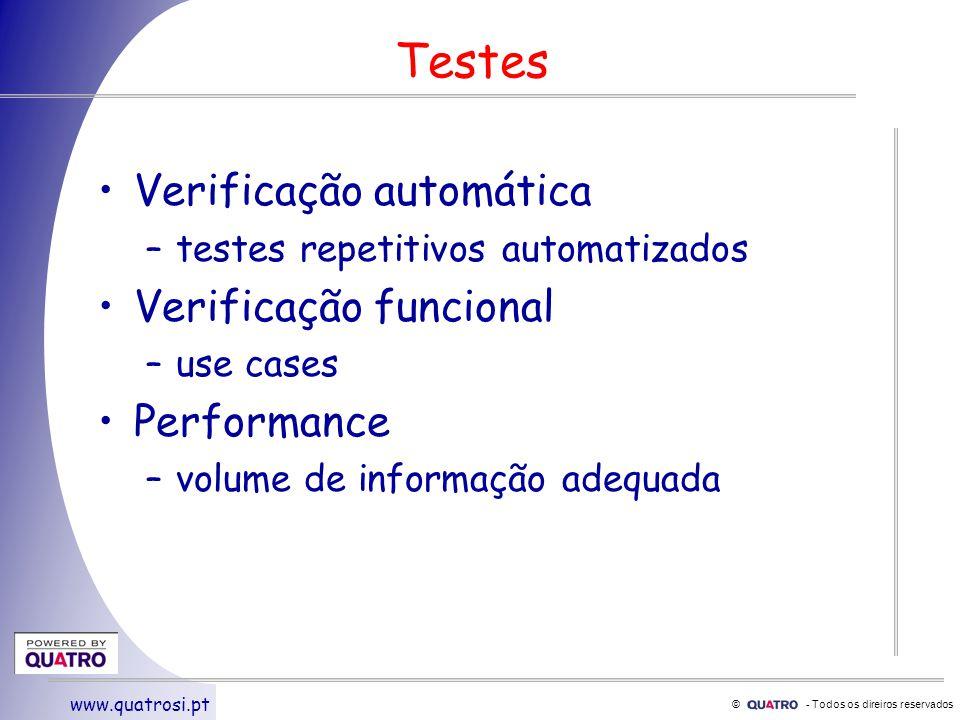 © - Todos os direiros reservados www.quatrosi.pt Testes Verificação automática –testes repetitivos automatizados Verificação funcional –use cases Performance –volume de informação adequada