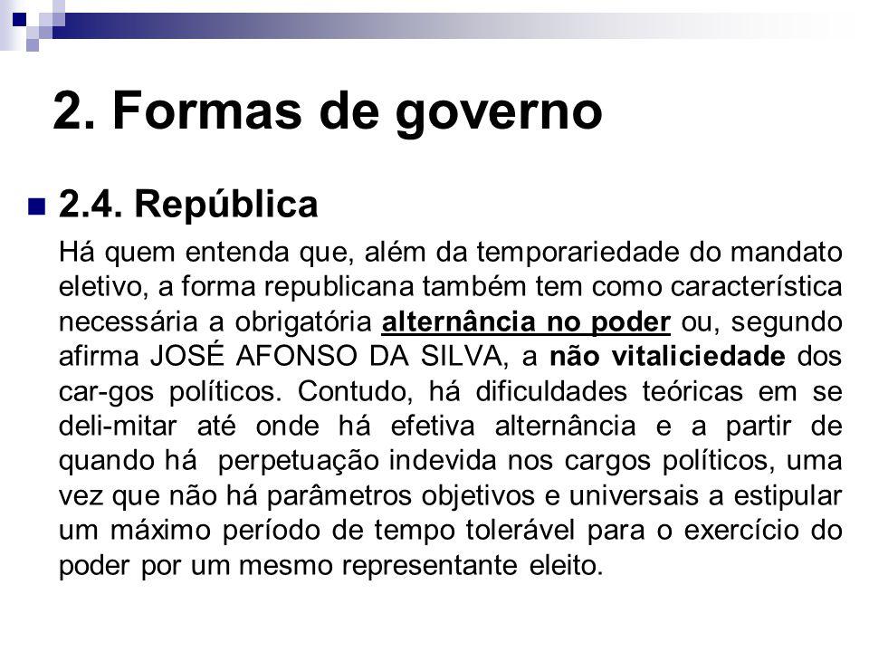 2. Formas de governo 2.4. República Há quem entenda que, além da temporariedade do mandato eletivo, a forma republicana também tem como característica