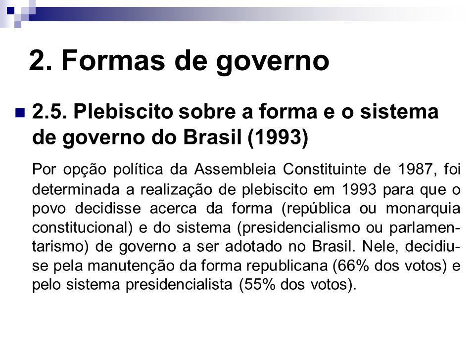 2. Formas de governo 2.5. Plebiscito sobre a forma e o sistema de governo do Brasil (1993) Por opção política da Assembleia Constituinte de 1987, foi