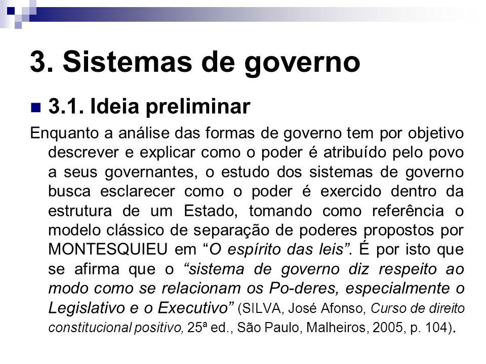3. Sistemas de governo 3.1. Ideia preliminar Enquanto a análise das formas de governo tem por objetivo descrever e explicar como o poder é atribuído p